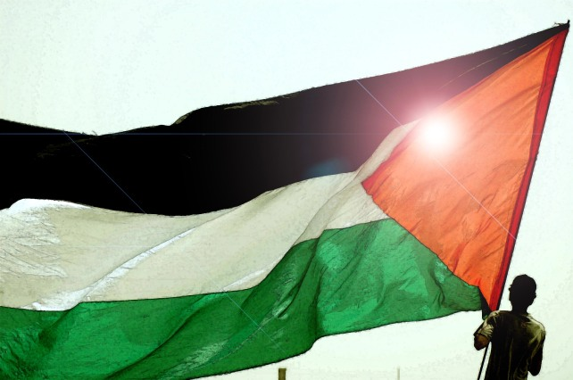 A youth holds-up a big Palestinian flag during a protest against the controversial separation wall in Ramallah