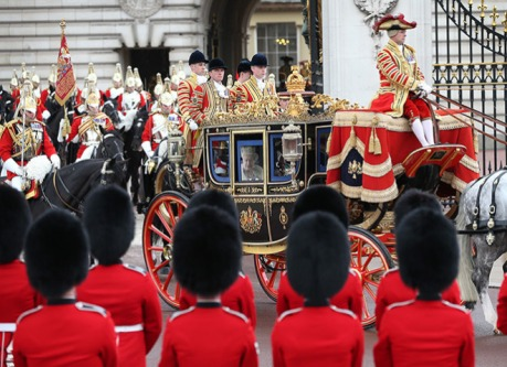 Queen Elizabeth II travels by coach to the State Opening of Parliament