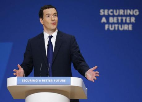 Britain's Chancellor George Osborne speaks during the Conservative Party Conference in Birmingham, central England September 29, 2014.  REUTERS/Darren Staples