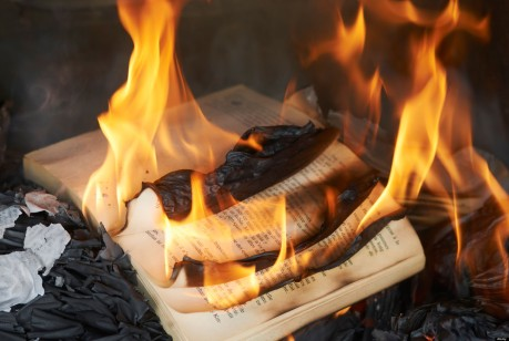Books burning in fire