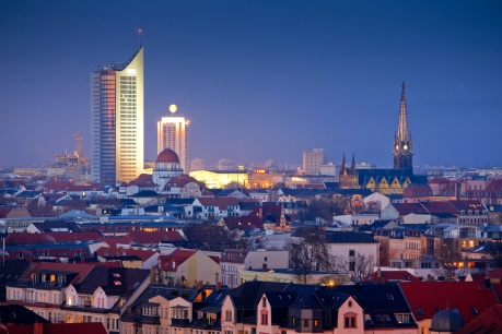 leipzig skyline at night