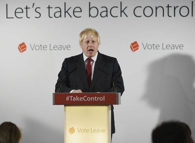 LONDON, ENGLAND - JUNE 24:  Conservative MP Boris Johnson speaks following the results of the EU referendum at Westminster Tower on June 24, 2016 in London, England. The results from the historic EU referendum has now been declared and the United Kingdom has voted to LEAVE the European Union.  (Photo by Mary Turner - WPA Pool/Getty Images)