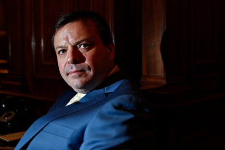 Arron Banks, co-founder of Leave.EU, sits for a photograph at the Hay-Adams hotel in Washington, D.C., U.S., on Monday, May 2, 2016. Photographer: Andrew Harrer/Bloomberg *** Local Caption *** Arron Banks