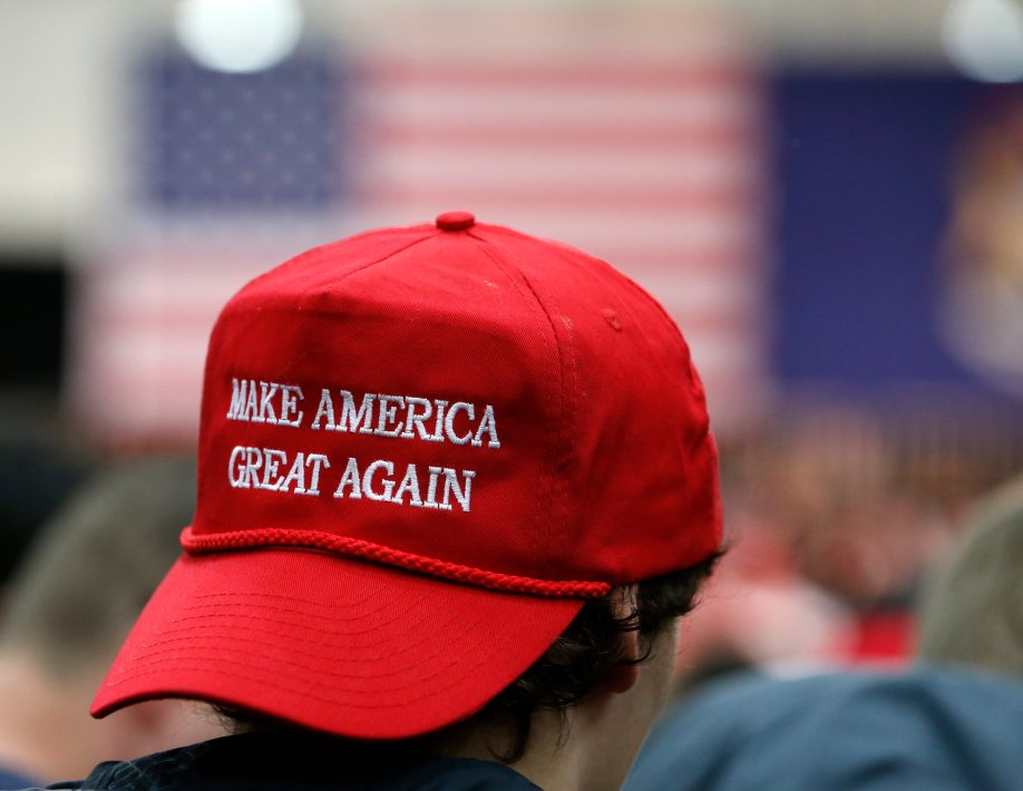 epa05194068 Griffin Wasik wears a hat with Republican 2016 US presidential candidate Donald Trump's motto while waiting for him to speak at Macomb Community College Sports & Expo Center Field house  in Warrren, Michigan, USA, 04 March 2016. Michigan will hold their Presidential primary on 08 March.  EPA/JEFF KOWALSKY