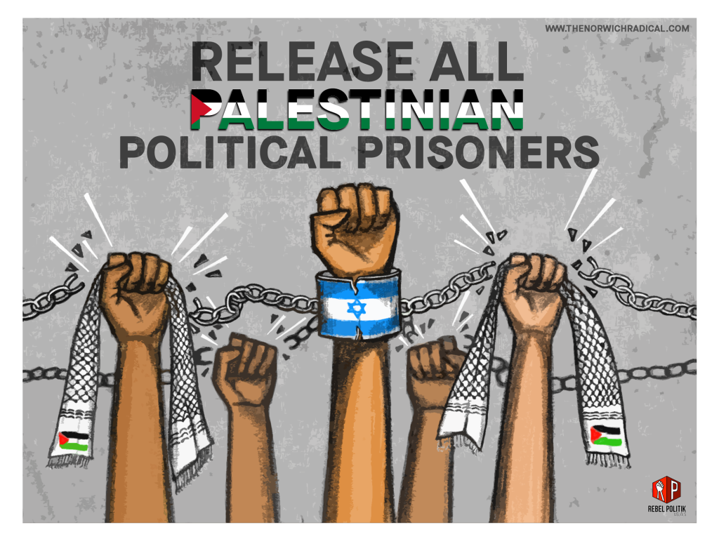 A raised fist in the foreground is chained in a wrist shackle with the image of Israeli flag superimposed over the shackle bracelet. Two raised fist holding Palestinian resistance scarf (with black-and-white keffiyeh pattern and Palestine flag on white fabric) on either side of the chained wrist are breaking the chains of shackles. In the background, two more raised fists are breaking the chains attached to the shackled fist in foreground.  The bracelet of the wrist shackle begin to break.  Release all Palestinian Political Prisoners text is written on top part of the image. The word, Palestine, has image of the Palestinian flag superimposed over