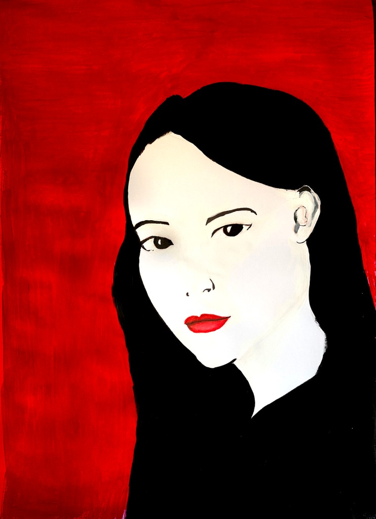 a white skinned, black hair and clothed, Asian woman on a red background, looking at the viewer and wearing red lipstick; the style is a bit in the style of Alex Katz paintings, the eyes doing all the work at looking back at the viewer.