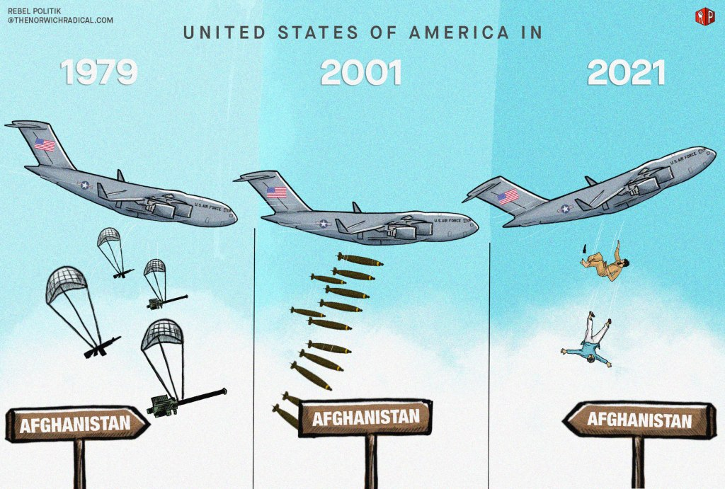 Image description:  The frame is divided into three sections, with the top heading - 'United States of America In'. All three section has a United States Airforce aircraft, visually moving from one section to another. In the first frame, on the left, the US Airforce aircraft is coming in dropping weapons like assault rifles and stringer missile launchers, each attached to a parachute. They are being dropped to the ground where a sign board pointing ahead appears on which Afghanistan is written. On the top of this first frame, 1979 is written, to indicate the US support to the Mujaheddin in Afghanistan, who later formed the Taliban.   In the second section, in the middle, the US aircraft is dropping bombs on Afghanistan (a sign board is visible on ground) and on the top 2001 is written marking the US invasion of Afghanistan. The third and last section, with the text 2021 written at the top shows the US aircraft flying away with two people falling off the plane to the ground with a sign board 'Afghanistan' pointing back, representing the actual incident of Afghans, trying to leave the country after US withdrawal and Taliban takeover, falling off a US air force aircraft during take off from Kabul International Airport.
